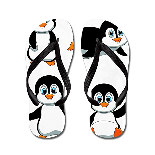 Cartone Animato Simpatico Pinguino - Infradito, Sandali Infradito Divertenti, Sandali Da Spiaggia Neri