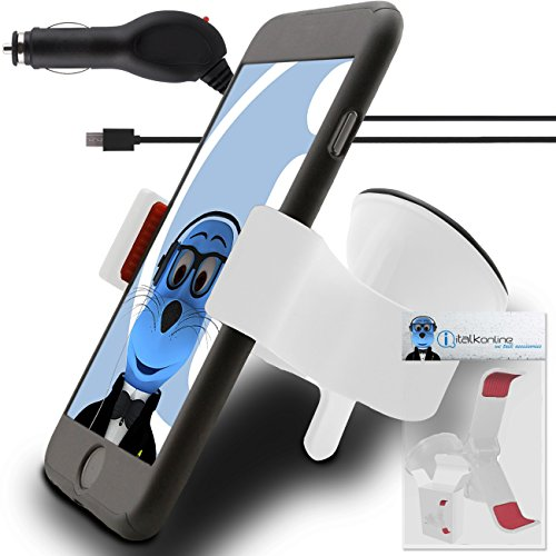 Price comparison product image White Huawei P10 Lite Car Holder with 1000 mAh MicroUSB Car Charger Claw Multi-Directional Dashboard / Windscreen Case Compatible (Use with or without your existing case!) Clip On Suction Mount