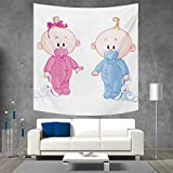 Anniutwo Gender Reveal Customed Widened Tapestry Cheerful Boy and Girl Children with Bunny Pacifiers Twins Wall Hanging Tapestry 70W x 70L Inch Pale Blue and Pink Peach