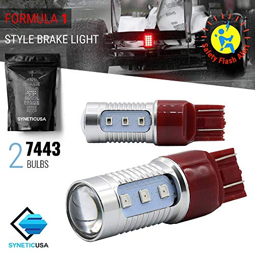7443 Red LED Stop Brake Flash Strobe Rear Alert Safety Warning 12-LED Light Bulbs