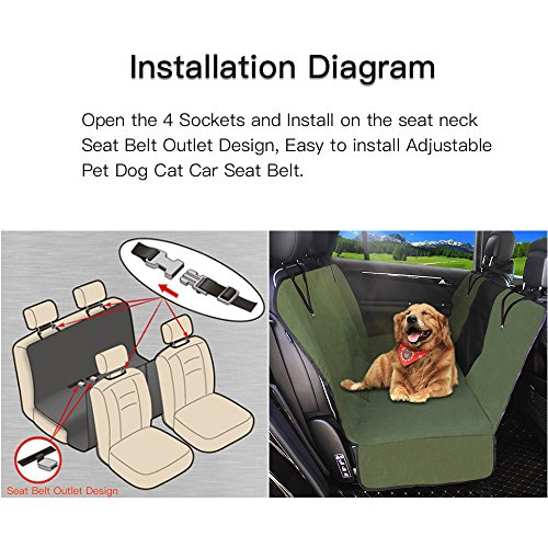 Dog Seat Cover Car Seat Covers for Pets With Storage bag- Nonslip Backing, 600D Waterproofand Hammock Style Easy to Clean and Install for Cars, Trucks and Suv's by YonRui (Image #5)