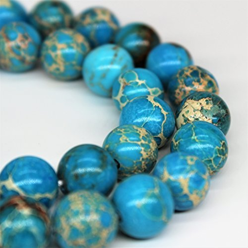 "Blue Imperial Jasper Gemstone Loose Beads 8mm 46 Beads Per 15.5"" Strand from Lynxus"