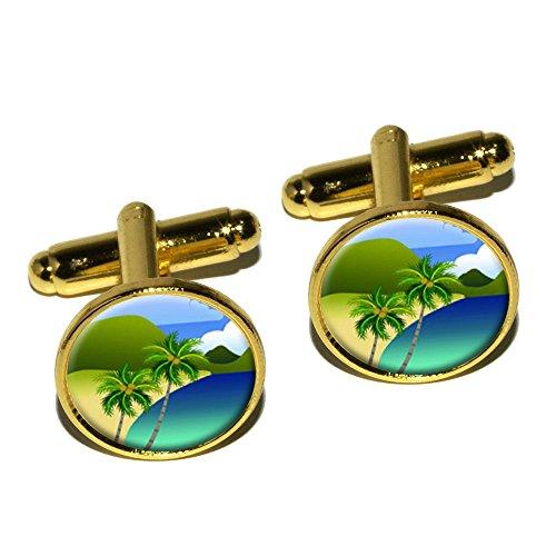 Paradis Tropical–Palmier de voyage–Boutons de manchette rond–Or