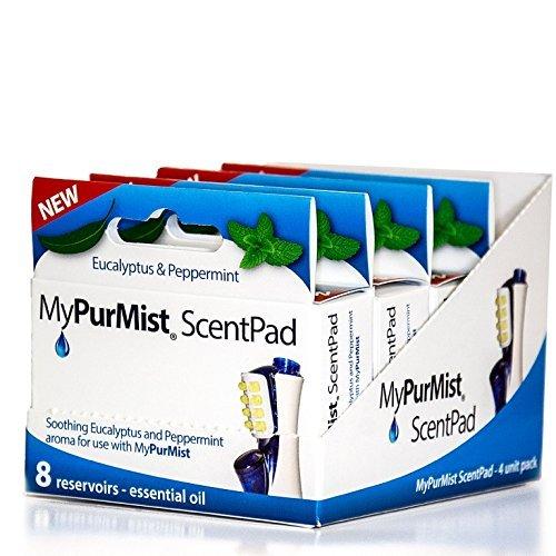 MyPurMist ScentPad Eucalyptus and Peppermint, 8 reservoirs - (Pack of 4)