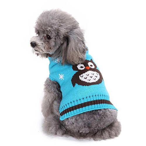Puppy Clothes,2017 New Hot Sale Colorful Owl Pattern Pet Dog Cute Clothes Puppy Winter Sweater by Neartime (M, Blue) -