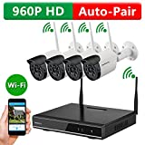 ONWOTE 1080P HD NVR Outdoor Wireless Home Security Surveillance Camera System with 4 Pcs 960P HD 1.3 Megapixel IR Night Vision Wifi IP Network Cameras with no Hard Drive (Built-in Router, Auto Pair)