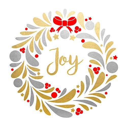 JOY WREATH set of 25 premium waterproof red, metallic gold and metallic silver temporary holiday foil Flash Tattoos- party tats, party favor, party (Red Metallic Holiday Wreaths)