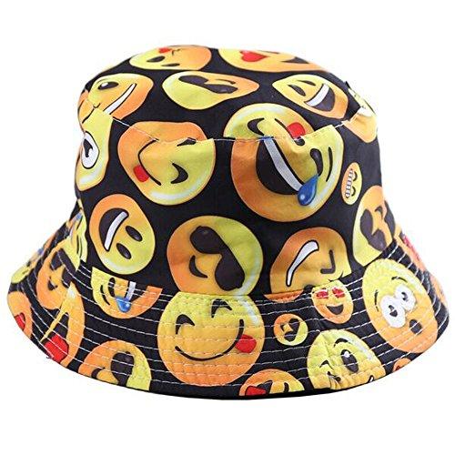 BYOS Fashion Packable Reversible Black Printed Fisherman Bucket Sun Hat, Many Patterns (Emoji)