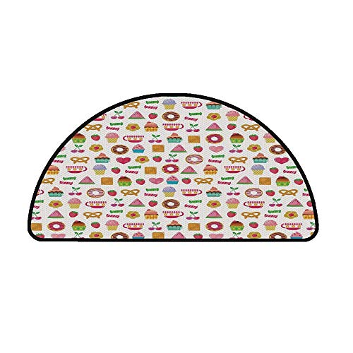 Tea Party Comfortable Semicircle Mat,Sweets Candies Cookies Fruit and Other Cute Things Festive Cheerful Collection Decorative for Living Room,11.8