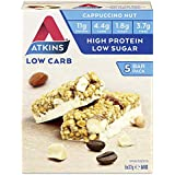 Atkins Cappuccino Nut Bars | Keto Friendly Bars | 5 x 37g Low Carb Cappuccino Bars | Low Carb, High Protein, High Fibre | 5 Bar Pack