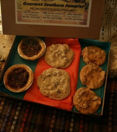 Gourmet Southern Sampler/Gift Box With Two Pecan Pies - Two Giant Pecan Cookies - Three Pecan Pralines/ (Pecan Pie Candy)