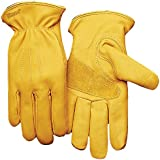 KINCO 198HK-L Men's Lined Premium Grade Grain Cowhide Leather Gloves, Heat Keep Thermal Lining, Large, Golden