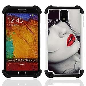 """Pulsar ( Lips Sensual mujer Chica Virgen rojo atractivo Gaze"""" ) Samsung Galaxy Note 3 III N9000 N9002 N9005 híbrida Heavy Duty Impact pesado deber de protección a los choques caso Carcasa de parachoques"""