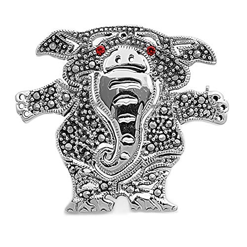 Glitzs Jewels 925 Sterling Silver Brooch (Elephant) | Cute Jewelry Gift for Women (Red ()