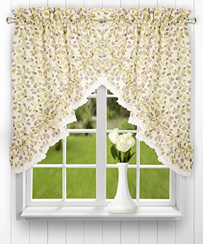 Ellis Curtain Clarice 58-by-36 Inch Ruffled Swags, -