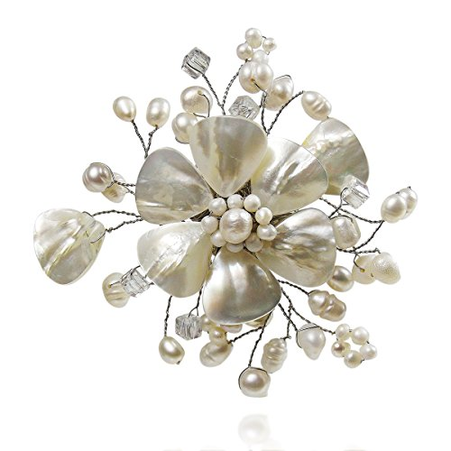 Cute Mother of Pearl and Cultured Freshwater White Pearl Floral Ray Pin