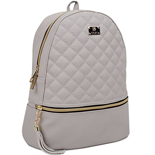 Copi Women's Simple Design Fashion Quilted Casual Backpacks Light Gray ()