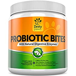 Probiotic Supplements for Dogs - With Digestive Enzymes + Prebiotics & Probiotics - Pet Anti Diarrhea and Constipation Aid for Better Digestion - 90 Soft Chewables