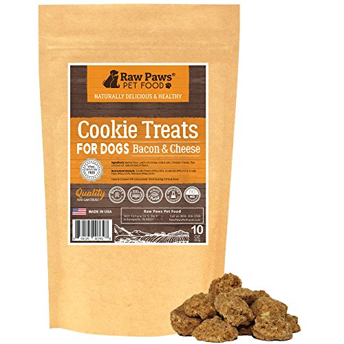 Raw Paws Pet All-Natural Bacon & Cheddar Cheese Dog Cookies, 10-Ounce - Made in USA Only - Bacon Treats for Dogs - Wheat, Corn, Soy & Preservative Free - Cheese ()