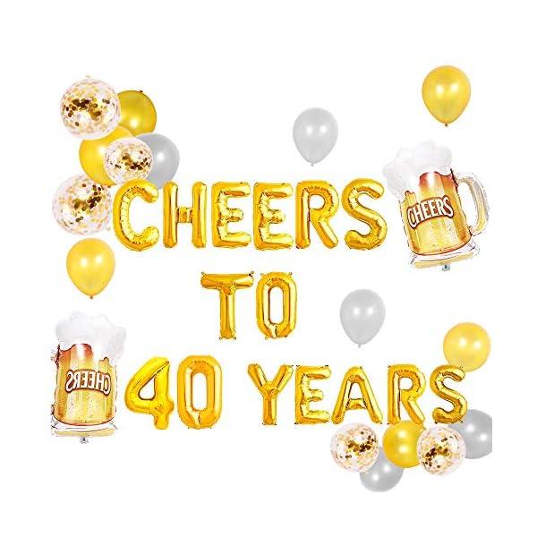 Birthday Party Decorations 40th Bithday Glitter Banner Cheers and Beers 40th Birthday Decorations Cheers to 40 Years Happy Birthday