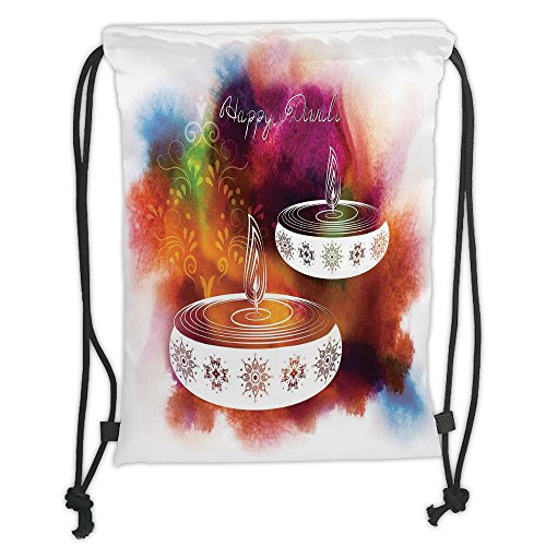 Custom Printed Drawstring Sack Backpacks Bags,Diwali Decor,Abstract Rainbow Brush Strokes like Paisley Decor with Festive Fire Candles,Multicolor Soft Satin,5 Liter Capacity,Adjustable String Closure, by iPrint
