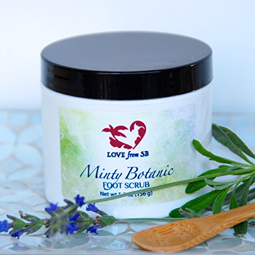 Minty Botanic Foot and Body Scrub | Essential Oils Lavender Buds Rose Petals by Love from Santa Barbara