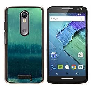 Rainy Bosque- Metal de aluminio y de plástico duro Caja del teléfono - Negro - Motorola Droid Turbo 2 / Moto X Force