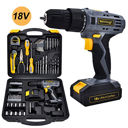 Werktough 77PCS 18/20V Cordless Drill Screwdriver Tool Set in Toolbox Storage Case Tool Kit Home Repair Set Father Day Gift Box Combo Kit Home Improvements