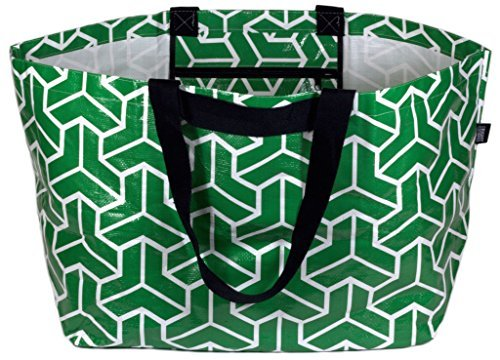Stylish Beach Bag Swim Pool Bag Lightweight Extra-Large Carry-all Tote Bag Heritage Green Geometric