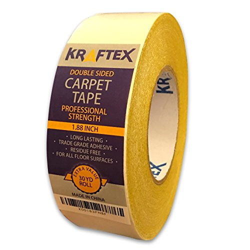 NEW: Original Carpet Tape 90ft Roll, For Rugs, Mats, Pads, Runners [Anti Slip Non Skid Technology] Indoor Gripper Tape Double Sided Adhesive [Works on ANY Floor] Grips Hardwood, Tile, Laminate (Anti Slip Tape Rolls)