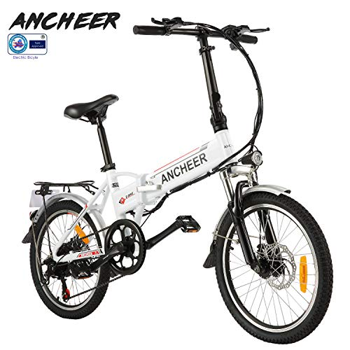 ANCHEER Folding Electric Bike Ebike, 20 Inch Electric Bicycle with 36V 8Ah Removable Lithium-Ion Battery, Ebike with 250W Motor and 7 Speed Gears (White)