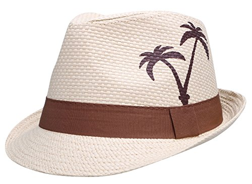 Wear Fedora Hat - TAUT Unisex Coconut Palm Tree Print Fedora/Trilby Hat with Band Natural S/M