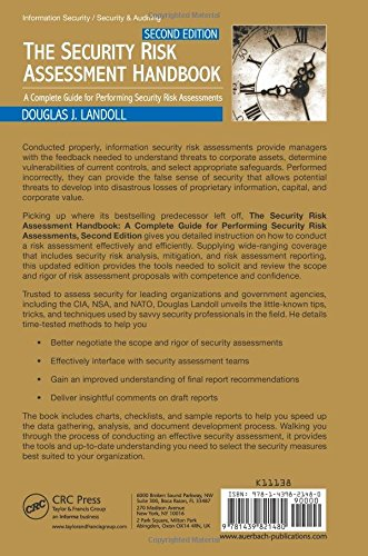 The Security Risk Assessment Handbook A Complete Guide For Performing Assessments Second Edition Douglas Landoll 9781439821480 Books