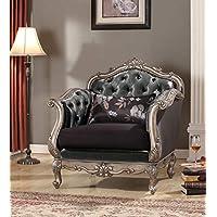 ACME Chantelle Antique Platinum Chair with Pillow