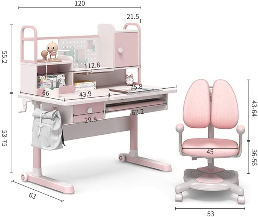 Child Study Desk Writing Desk And Chair Set With Sit Orthosis LED Desk Chair