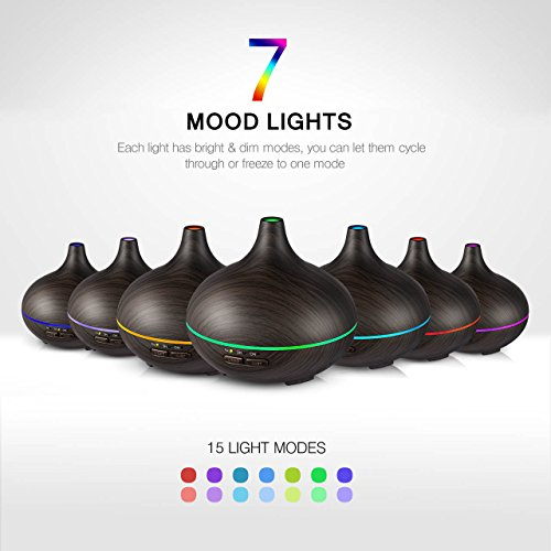 Large Product Image of VicTsing 150ml Mini Aroma Essential Oil Diffuser, Wood Grain Cool Mist Humidifier for Office Home Study Yoga Spa, 14 Color Lights(Dark Brown)