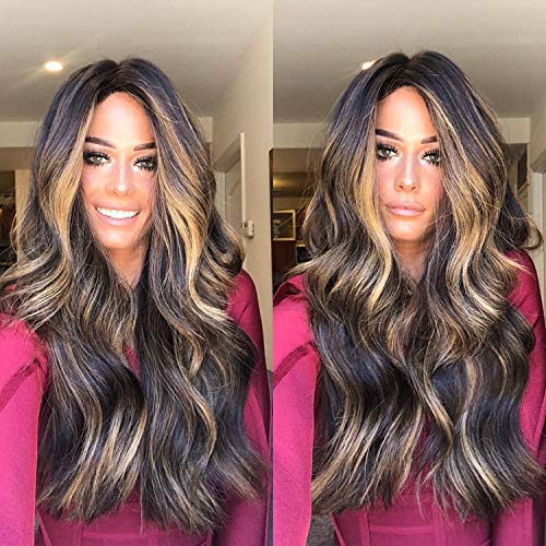 Hot Sale! Women Long Wigs,Fashion Hair Extensions Wave Gradient Mix Color Curly Full Synthetic Wig (Brown)