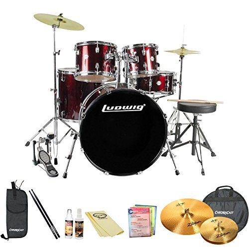ludwig-accent-drive-5-pc-standard-size-drum-set-with-zildjian-cymbals-chromacast-accessories-wine-re