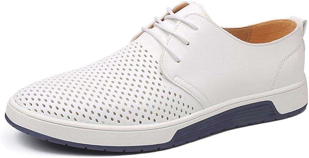 Minetom Zapatos De Cuero Hombre Oxford con Cordones Informal Negocios Calzado Respirable Verano Otoño Casual Sneakers