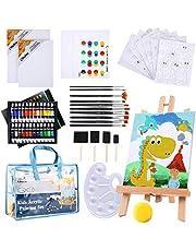Paint Set for Kids, Ohuhu 55pcs Kids Art Set Paint Easel Includes 24 Non Toxic Acrylic Paints, Table Top Easel, 12 Paint Brushes,12 Pcs Canvas, Paint Palette, Art Supplies for Kids with Travel Bag, Kids Art Supply Gifts