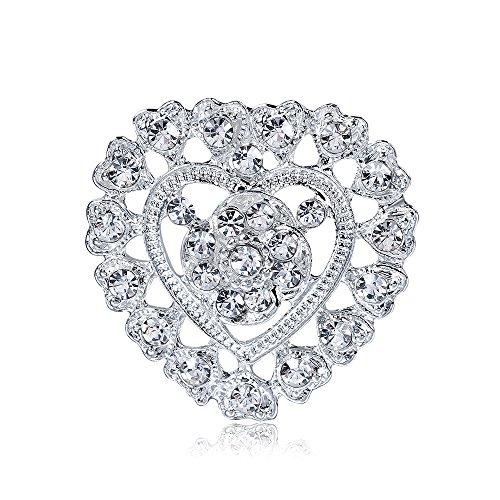 Reizteko Women's Rhinestone Crystal Brooch Silver-Tone (Heart)