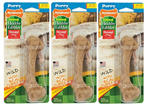 (3 Pack) Nylabone Healthy Edibles Dog Chew Treat Bones for Puppies, Wild Turkey Flavor