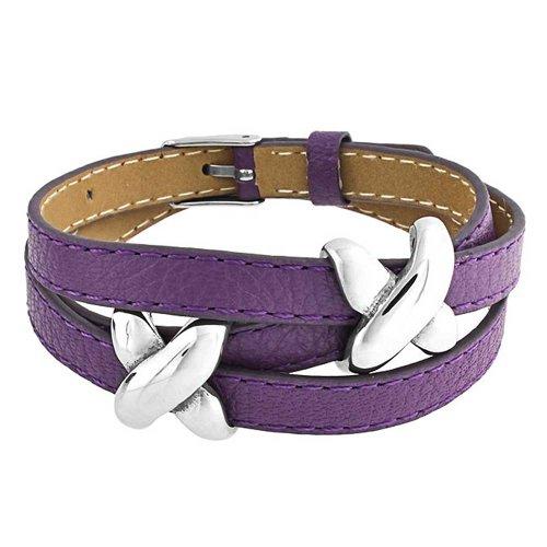 Love Slide Charm X Kiss Double Genuine Purple Leather Wrap Boho Bracelet for Teen for Women Silver Tone Stainless Steel ()