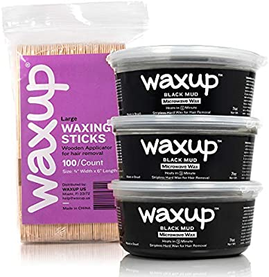 Amazon Com Waxup Microwave Hard Wax Kit Black Mud 3 Pack 7 Ounces 100 Large Wax Sticks At Home Waxing Kit Stripless Microwaveable Hot Hair Removal Wax For All