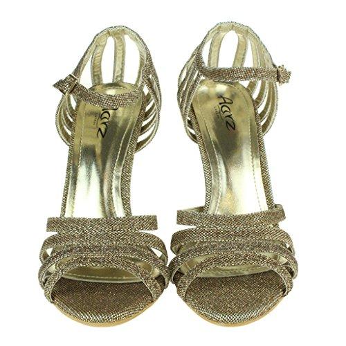 Señoras Boda Sparkly Marrón Noche Paseo Alto Tacón Fiesta Tobillo Nupcial Correa Zapatos Sandalias Mujer Tamaño gwTpqSxT