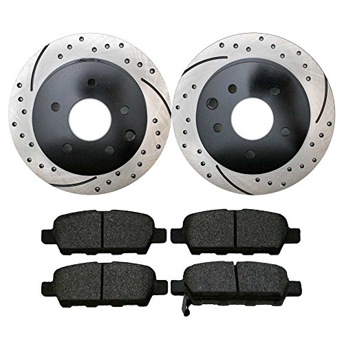 Prime Choice Auto Parts SCDPR4131441314905 Pair of Drilled and Slotted Rotors and Premium Ceramic Brake Pads -