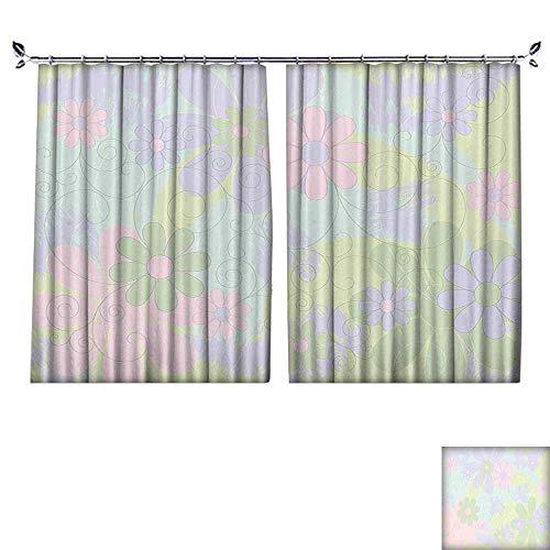 Blackout Window Curtain with hookPastel Colored Flower Petals Leaf Spring Spirals Blooms Design Light Pink Pale Green Balance Indoor Temperature,W63 xL45 (Design Knob Flower Petal)