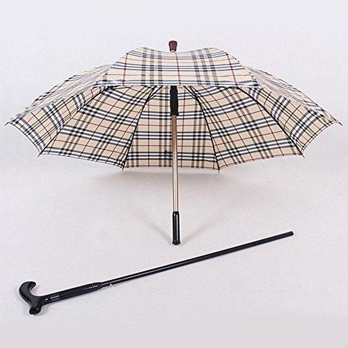 HTYX Multifunctional Cane Outdoor Umbrella Cane Old Man Umbrella Yellow Lattice Aluminum Umbrella Diameter 102cm Cane 86cm