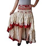 Womens Silk Sari Skirt Off White Vingate Recycled Flare Ruffle Skirts S/M