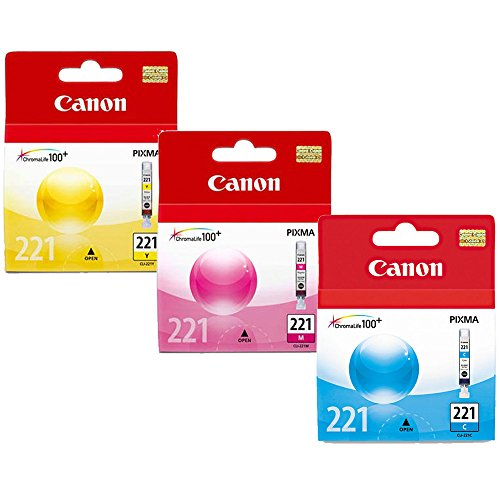 Canon CLI-221 Standard Yield Ink Cartridge Set Colors Only, Cyan, Magenta, Yellow -